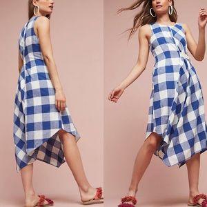 Anthropologie Maeve Gingham Asymmetrical Dress